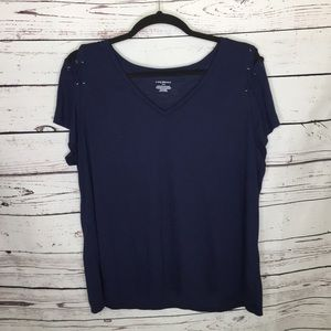 Lane Bryant Navy s/s v neck shirt